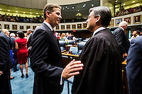 TALLAHASSEE, FLA. 11/18/14-ORGSESS111814CH-Senate President Andy Gardiner, R-Orlando, left, talks with Florida Supreme Court Chief Justice Jorge Labarga during the Organizational Session of the legislature, Nov. 18, 2014 at the Capitol in Tallahassee.<br /> <br /> COLIN HACKLEY PHOTO