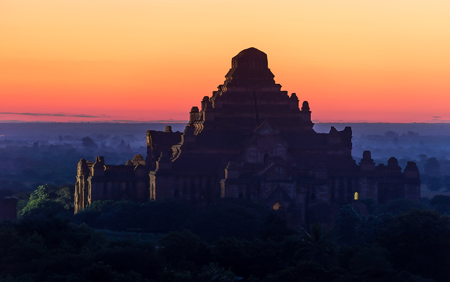View of the Dhammayan Gyi Temple at dawn in Bagan, this is the largest of all temples and it was built between 1167 and 1170.