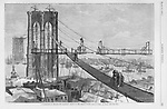 Vintage Illustration:  Constructing the Brooklyn Bridge, New York City Harper's Weekly March 1877