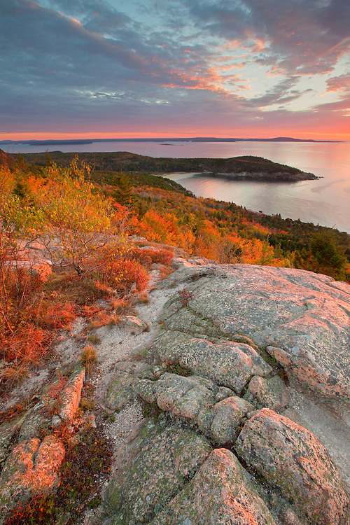Sunrise view from the false summit of Gorham Mountain, Acadia National Park, Maine, USA