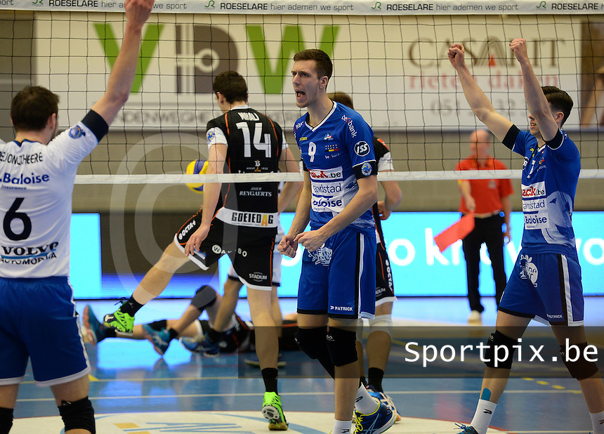 20161228 - ROESELARE ,  BELGIUM : Roeselare's Arno Van De Velde (9) pictured celebrating during the second semi final in the Belgian Volley Cup between Knack Volley Roeselare and Lindemans Aalst in Roeselare , Belgium , Wednesday 28 th December 2016 . PHOTO SPORTPIX.BE | DAVID CATRY
