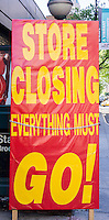 Store closing along Eighth Street in Greenwich Village in New York on Sunday, May 12, 2013. (© Richard B. Levine)