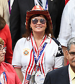 Tina Harris, a convention delegate from Florida poses for a group photo during the Monday afternoon session of the 2016 Republican National Convention held at the Quicken Loans Arena in Cleveland, Ohio on Monday, July 18, 2016.<br /> Credit: Ron Sachs / CNP<br /> (RESTRICTION: NO New York or New Jersey Newspapers or newspapers within a 75 mile radius of New York City)