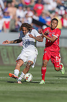 Carson, CA - Sunday, February 8, 2015: Jermaine Jones (13) of the USMNT and Hecgar Murillo (11) of Panama. The USMNT defeated Panama 2-0 during an international friendly at the StubHub Center
