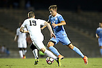 16 September 2016: North Carolina's Nils Bruening (GER) (14) and Pitt's Matt Bischoff (19). The University of North Carolina Tar Heels hosted the University of Pittsburgh Panthers in Chapel Hill, North Carolina in a 2016 NCAA Division I Men's Soccer match. UNC won the game 1-0.