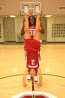 6 October 2005: Shelley Nweke and Krista Rappahahn on picture day at the Arrillaga Family Sports Center in Stanford, CA.