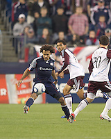 New England Revolution defender Kevin Alston (30) intercepts a pass. In a Major League Soccer (MLS) match, the New England Revolution tied the Colorado Rapids, 0-0, at Gillette Stadium on May 7, 2011.