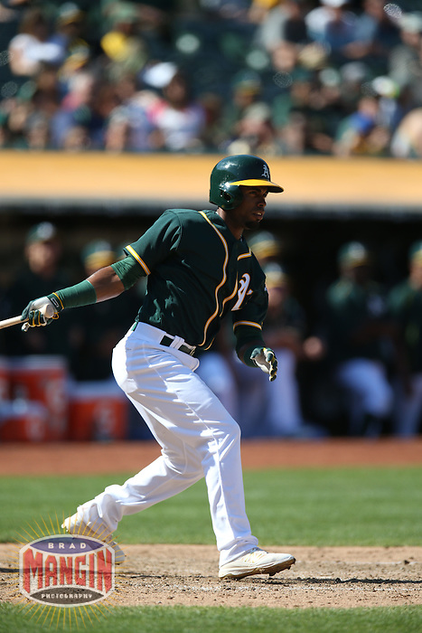 OAKLAND, CA - SEPTEMBER 10:  Arismendy Alcantara #30 of the Oakland Athletics bats against the Seattle Mariners during the game at the Oakland Coliseum on Saturday, September 10, 2016 in Oakland, California. Photo by Brad Mangin