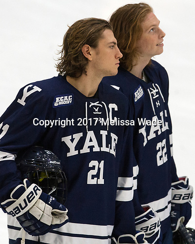 John Hayden (Yale - 21), JM Piotrowski (Yale - 22) - The Harvard University Crimson tied the visiting Yale University Bulldogs 1-1 on Saturday, January 21, 2017, at the Bright-Landry Hockey Center in Boston, Massachusetts.