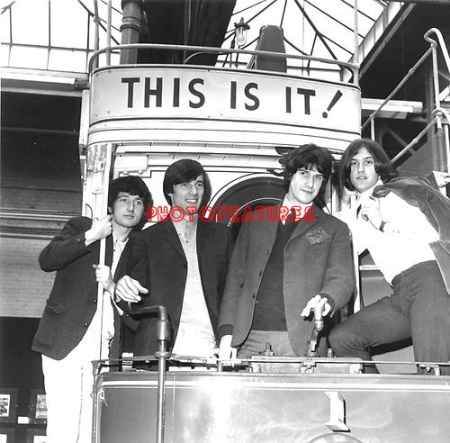Kinks 1966 Pete Quaife, Mick Avory, Ray Davies and Dave Davies at London Transport Museum..© Chris Walter..