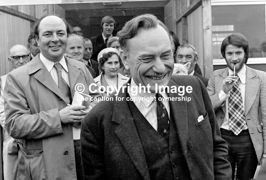 Former UK Conservative MP Enoch Powell, arrives at Belfast, N Ireland's Aldergrove Airport amid speculation that he would standing as an Ulster Unionist MP at Westminster for a N Ireland constituency. Left of the photo is Ted Scallan, longtime chief reporter, Daily Mail, Belfast. 197406000466EP3..Copyright Image from Victor Patterson, 54 Dorchester Park, Belfast, UK, BT9 6RJ..Tel: +44 28 9066 1296.Mob: +44 7802 353836.Voicemail +44 20 8816 7153.Skype: victorpattersonbelfast.Email: victorpatterson@mac.com.Email: victorpatterson@ireland.com (back-up)..IMPORTANT: If you wish to use this image or any other of my images please go to www.victorpatterson.com and click on the Terms & Conditions. Then contact me by email or phone with the reference number(s) of the image(s) concerned.