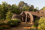 May 8, 2015. Chapel Hill, North Carolina.<br />  Local sculptor Patrick Dougherty installed his work &quot;Homegrown&quot; in the main yard of the North Carolina Botanical Gardens. The North Carolina Botanical Gardens encompass acres of plant habitats native to the state, as well nature trails for walking and recreation. <br />  Outsiders tend to lump Chapel Hill with nearby Durham, but the more sensible pairing is with Carrboro, the adjacent town that was once a mere offshoot known as West End. Even today the transition from Chapel Hill, anchored by North Carolina''s flagship public university, into downtown Carrboro is virtually seamless.