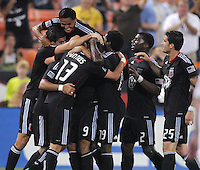 D.C. United midfielder Chris Pontius (13) celebrates with teammates his score in the 47th minute of the game. D.C. United defeated The Vancouver Whitecaps FC 4-0 at RFK Stadium, Saturday August 13 , 2011.