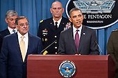 United States President Barack Obama delivers a press brief along with U.S. Secretary of Defense Leon Panetta and General Martin Dempsey, Chairman of the Joint Chiefs of Staff at the Pentagon on January 5, 2012. President Obama and Secretary Panetta delivered remarks on the Defense Strategic Guidance for the Defense Department going forward. They were joined by Deputy Defense Secretary Ashton Carter and the members of the Joint Chiefs and Service Secretaries..Mandatory Credit: Erin A. Kirk-Cuomo / DoD via CNP