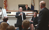 Defense attorney Peter Greenspun gestures as he delivers his photo during his closing arguments in the trial of sniper suspect John Allen Muhammad at the Virginia Beach Circuit Court in Virginia Beach, Virginia on November 13, 2003.  Prince William County (Virginia) Judge LeRoy F. Millette, Jr., background and commonwealth attorney Paul S. Ebert, right, listen. <br /> Credit: Steve Earley - Pool via CNP