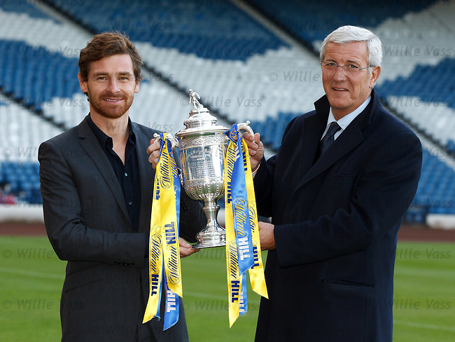 Andre Villas-Boas and Marcello Lippi make the draw for the 5th round of the William Hill Scottish Cup