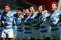 Argentina U20 players sing their national anthem prior to the match. World Rugby U20 Championship 3th Place Play-Off between Argentina U20 and South Africa U20 on June 25, 2016 at the AJ Bell Stadium in Manchester, England. Photo by: Patrick Khachfe / Onside Images
