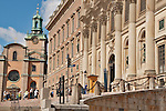 The Royal Palace of Stockholm, Sweden; the palace is the official residence of the King and was constructed in the 18th century