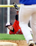 BURLINGTON CT. 24 April 2017-042417SV18-#3 Matt Jobaggy of Terryville High makes the diving catch in left center and checks it with the umpire during the 4th inning against Lewis Mills <br /> Steven Valenti Republican-American