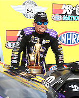 Jul 10, 2016; Joliet, IL, USA; NHRA funny car driver Jack Beckman celebrates after winning the Route 66 Nationals at Route 66 Raceway. Mandatory Credit: Mark J. Rebilas-USA TODAY Sports