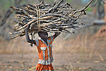 A displaced girl carries firewood she has gathered near Ajuong Thok, to where she and her family fled after fighting broke out in much of South Sudan in late 2013. Displaced families here are living with their relatives on the edge of a camp filled with thousands of refugees from Sudan's Nuba Mountains.