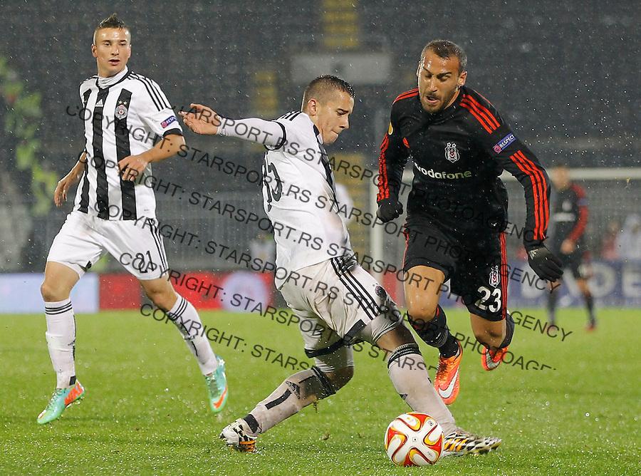 Fudbal Football Soocer<br /> UEFA Europe League <br /> Partizan v Besiktas<br /> Cenk Tosun (R) and Miladin Stevanovic<br /> Beograd, 23.09.2014.<br /> foto: Srdjan Stevanovic/Starsportphoto&copy;
