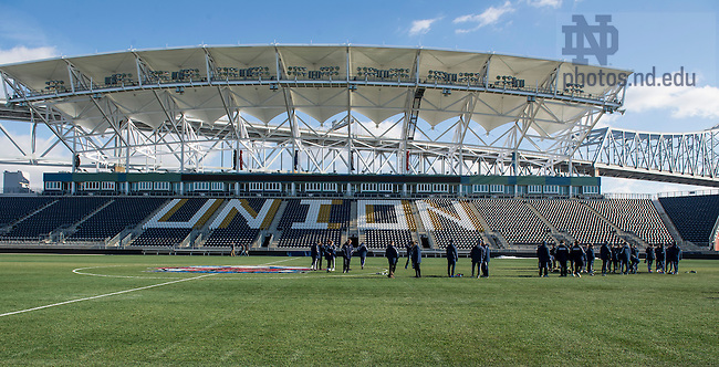 Dec 12, 2013; Notre Dame mens' soccer team does a walk through at PPL Park in Chester, Pa. They will play against New Mexico in the semifinals of the NCAA Championship tomorrow night at the stadium. This season marks the program's first appearance in the College Cup. Photo by Barbara Johnston/University Photographer