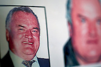 Wanted posters for former Bosnian Serb general Ratko Mladic. He is one of the most sought after suspects from the Bosnia conflict. He has been indicted by the UN war crimes tribunal on charges of genocide and crimes against humanity.