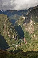 View of the Urubamba river from Machu Picchu, Peru, South America.