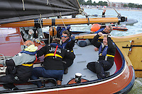 SKÛTSJESILEN: LEMMER: 30-07-2015, SKS kampioenschap 2015, Douwe Jzn. Visser wint met het Sneker Skûtsje, Dirk Jan Reijenga met Joure werd tweede, ©foto Martin de Jong