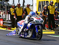 Mar 16, 2014; Gainesville, FL, USA; NHRA pro stock motorcycle rider Hector Arana Jr during the Gatornationals at Gainesville Raceway Mandatory Credit: Mark J. Rebilas-USA TODAY Sports