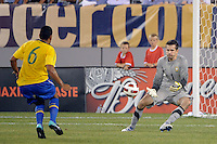 Brazil goalkeeper Victor (1) gathers in a ball. The men's national team of Brazil (BRA) defeated the United States (USA) 2-0 during an international friendly at the New Meadowlands Stadium in East Rutherford, NJ, on August 10, 2010.