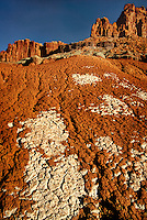 731350002  bleached mud and sandstone formations below the reddish colored fluted wall formation on the west side of capitol reef national park in utah