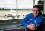 St Johnstone UEFA Cup Qualifyer, Armenia...30.06.15<br /> Michael O'Halloran pictured at Edinburgh Airport this morning before boarding the plane for Armenia ahead of Thursday's qualifyer against Alaskert FC.<br /> Picture by Graeme Hart.<br /> Copyright Perthshire Picture Agency<br /> Tel: 01738 623350  Mobile: 07990 594431