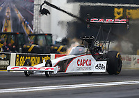 Feb 10, 2017; Pomona, CA, USA; NHRA top fuel driver Steve Torrence during qualifying for the Winternationals at Auto Club Raceway at Pomona. Mandatory Credit: Mark J. Rebilas-USA TODAY Sports