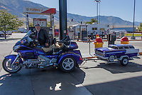 West of Salt Lake City, motorcycle and trailer filling up before hitting the highway again.