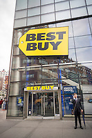 The Best Buy electronics store in Union Square in New York on Tuesday, May 24, 2016. Best Buy reported a 77% jump in first-quarter net income but warned of a difficult second-quarter on the horizon. They also announced that their Chief Financial Officer, Sharon McCollam, will be leaving.  (© Richard B. Levine)