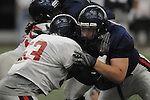 Jason Jones (53) is blocked by Bradley Sowell (78) at Ole Miss spring football practice in the IPF in Oxford, Miss. on Monday, April 4, 2011.