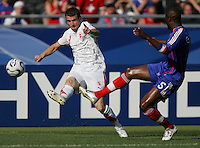 French defender (5) William Gallas applies pressure to Swiss forward (9) Alexander Frei. France and Switzerland played to a 0-0 tie in their FIFA World Cup Group G match at the Gottlieb-Daimler-Stadion, Stuttgart , Germany, on Tuesday, June 13, 2006.