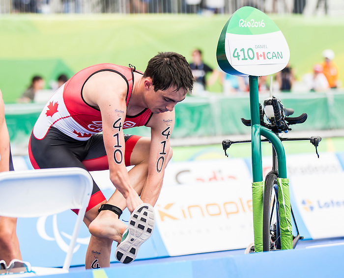 RIO DE JANEIRO - 10/9/2016:  Stefan Daniel, of Calgary, AB, competes in the men's traithlon at Fort Copacabana during the Rio 2016 Paralympic Games. (Photo by Dave Holland/Canadian Paralympic Committee