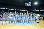 09 November 2012: UNC cheerleaders, with the mascot Ramses, sing the alma mater after the game. The University of North Carolina Tar Heels played the Gardner-Webb University Runnin' Bulldogs at Dean E. Smith Center in Chapel Hill, North Carolina in an NCAA Division I Men's college basketball game. UNC won the game 76-59.