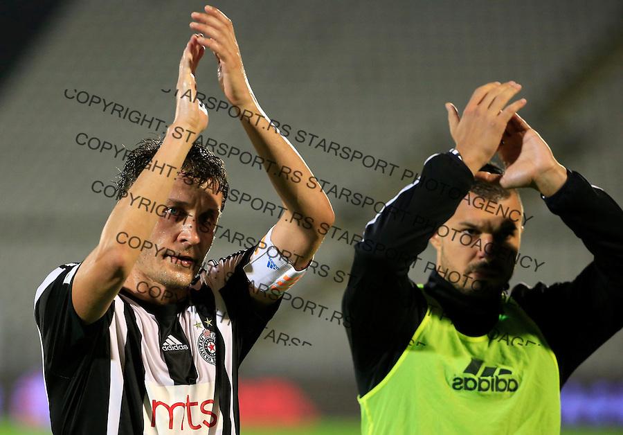 Fudbal Jelen Super League season 2015-2016<br /> Partizan v Radnicki (Nis)<br /> Sasa Ilic and Valeri Bozhinov (Bojinov) (R)<br /> Beograd, 20.09.2015.<br /> foto: Srdjan Stevanovic/Starsportphoto&copy;