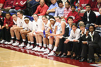 19 March 2007: Rosalyn Gold-Onwude, Christy Titchenal, Morgan Clyburn, Markisha Coleman, Clare Bodensteiner, Michelle Harrison, Melanie Murphy, Jayne Appel, Karen Middleton, Tara Vanderveer, Amy Tucker and Charmin Smith during Stanford's 68-61 second round loss to Florida State in the 2007 NCAA Division I Women's Basketball Championships at Maples Pavilion in Stanford, CA.