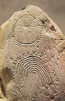 """Prehistoric  petroglyphs, rock carvings, of geometric designs carved by the the prehistoric Camuni people in the Copper Age around the 3rd milleneum BC, Stele """"Bagnolo 2"""" found in 1972 from Malegno near Bangnolo Ceresolo. Museo Nazionale della Preistoria della Valle Camonica ( National Museum of Prehistory in Valle Cominca ), Lombardy, Italy. Art Background"""
