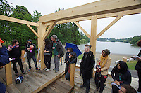 dOCUMENTA (13) in Kassel, Germany..Karlsaue..Sam Durant explaining his work, a sculpture made from gallows.