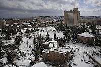 View of Jerusalem center during snow storm. December 13, 2013.  Photo by Oren Nahshon