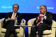 """Washington, DC - April 21, 2017:  United Nations Secretary General Antonio Guterres and World Bank President Jim Yong Kim participate in the""""Financing for Peace"""" panel discussion during the annual Spring Meetings of the IMF/World Bank Group at the IMF headquarters in the District of Columbia April 21, 2017.  (Photo by Don Baxter/Media Images International)"""
