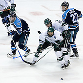 Billy Ryan (University of Maine - Milton, MA), Zak McClellan (Michigan State - Frankenmuth, MI), Jeff Dunne (Michigan State - Grover, MO), Mike Hamilton (University of Maine - Victoria, BC) - The Michigan State Spartans defeated the University of Maine Black Bears 4-2 in their 2007 Frozen Four semi-final on Thursday, April 5, 2007, at the Scottrade Center in St. Louis, Missouri.