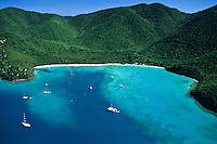 Aerial view of Big Maho Bay Beach.<br /> Maho Bay, St John.<br /> Virgin Islands National Park