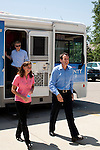 Republican presidential candidate Tim Pawlenty and his wife Mary Pawlenty arrive for a campaign stop on Tuesday, July 19, 2011 in Marshalltown, IA.